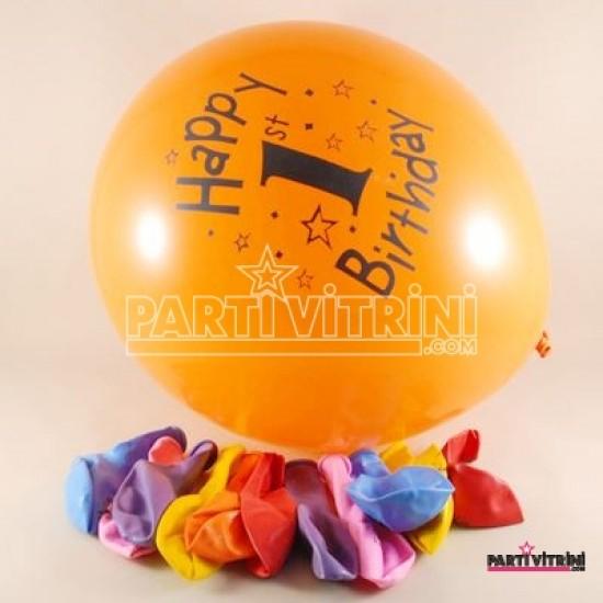 1 Yaş Happy Birthday Rengarenk 12 li Balon Seti