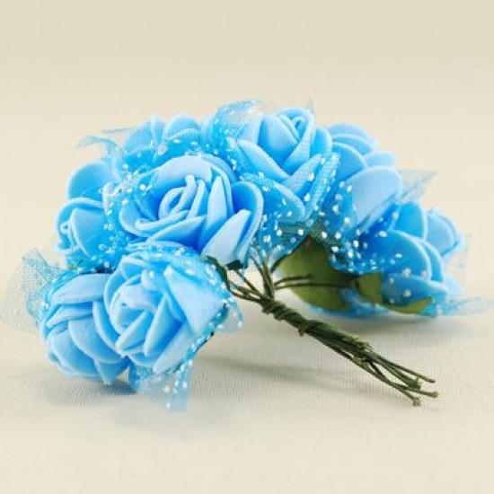Tüllü Çiçek Teli Mavi Lateks 10 Adet