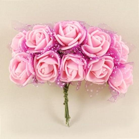 Tüllü Çiçek Teli Pembe Lateks 10 Adet