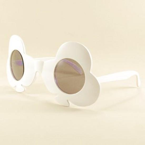 Beyaz Maça Yuvarlak Parti Gözlüğü