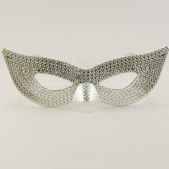 Gümüş Rengi Mask Şeklinde Parti Gözlüğü