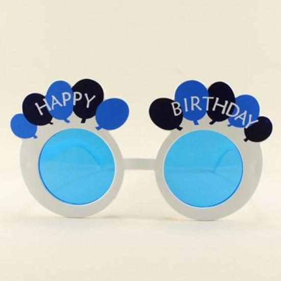 Happy Birthday Mavi Yuvarlak Parti Gözlüğü