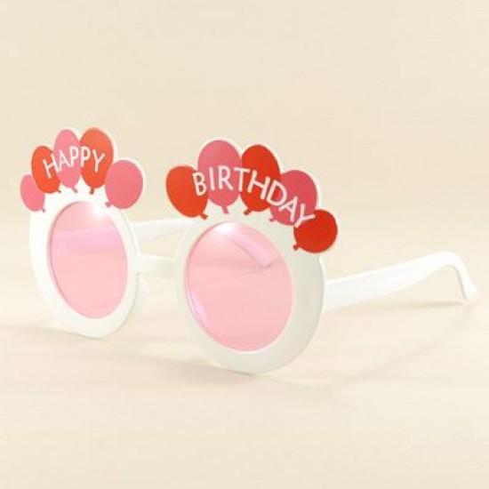 Happy Birthday Pembe Yuvarlak Parti Gözlüğü