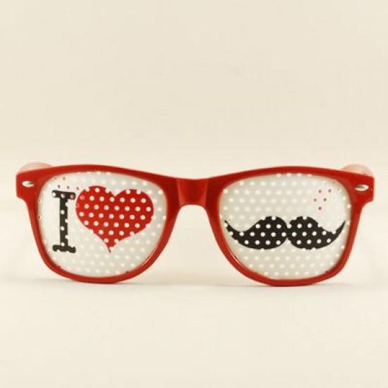 I Love Bıyık Kırmızı Delikli Parti Gözlüğü