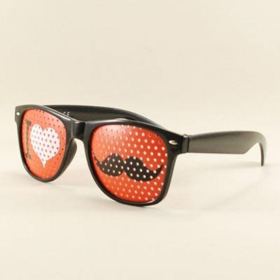 I Love Bıyık Siyah Delikli Parti Gözlüğü