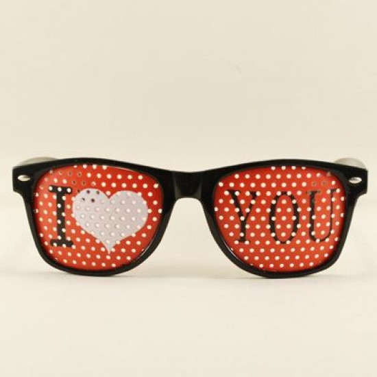 I Love You Kırmızı Delikli Parti Gözlüğü