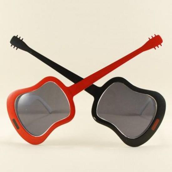 Kırmızı Siyah Gitar Şeklinde Parti Gözlüğü