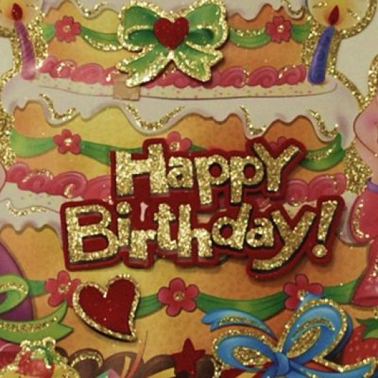 Happy Birthday Pastalı Üç Boyutlu Kapı Süsü 43X30 Cm