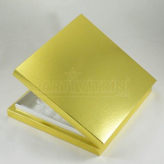 16 Bölmeli Madlen Çikolata Kutusu Gold (altın) Renkli