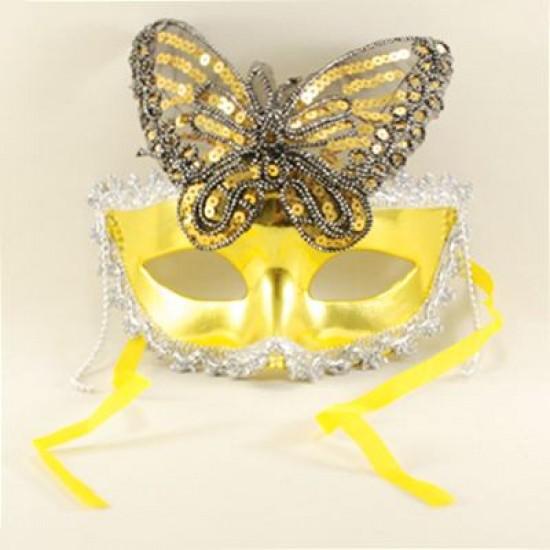 Altın Kelebek Pul Aksesuarlı Maske