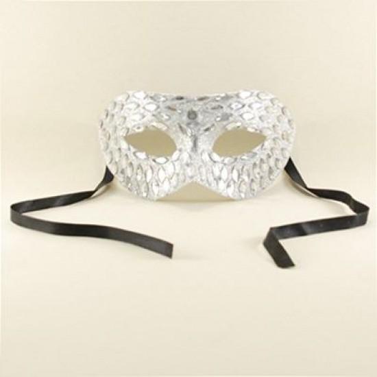 Gümüş Renk Parlak Taş Kaplı Maske