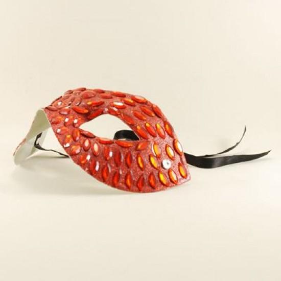 Kırmızı Renk Parlak Taş Kaplı Maske