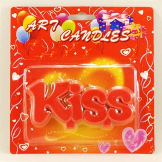 Kiss yazılı Parti Mumu