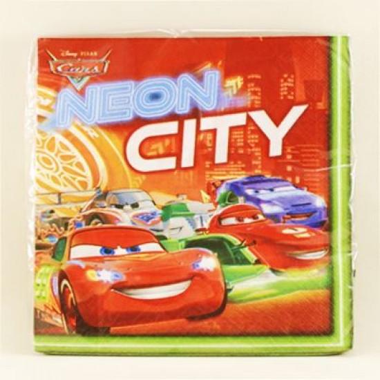 Arabalar Neon City Temalı Orjinal Lisanslı Peçete