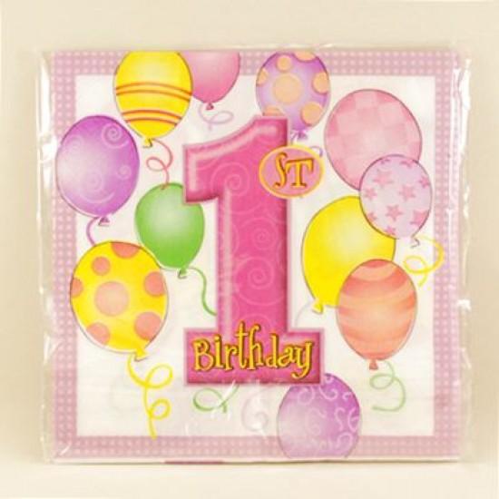 1 Yaş Doğum Günü Balonlu Peçete