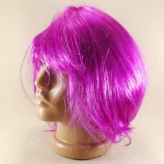 Mor Renkli Küt Saç Peruk