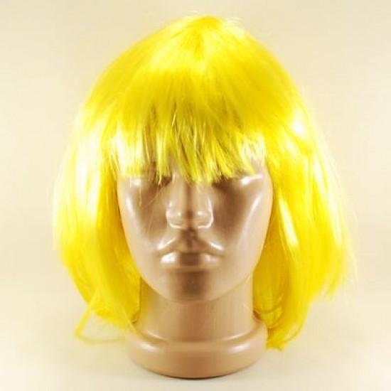 Sarı Renkli Küt Saç Peruk