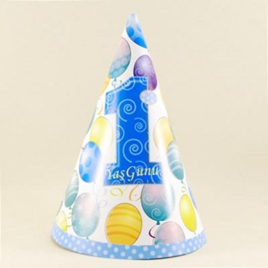 1 Yaş Mavi Mini Boy Parti Şapkası 6 Adet