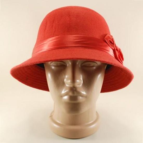 Kırmızı Yuvarlak Saten Çiçekli Keçe Şapka