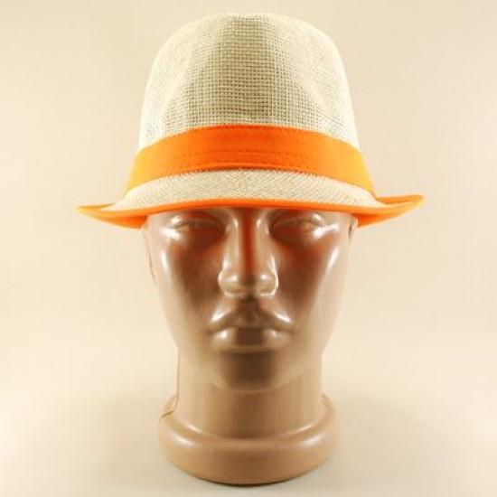 Krem Rengi Hasır Neon Turuncu Bantlı Fötr Şapka