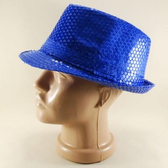 Mavi Renk Pullu Fötr Parti Şapkası