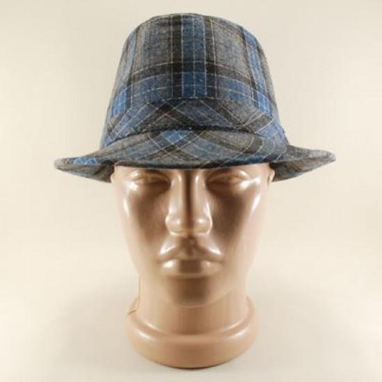 Mavi Ve Gri Pötikareli Fötr Şapka