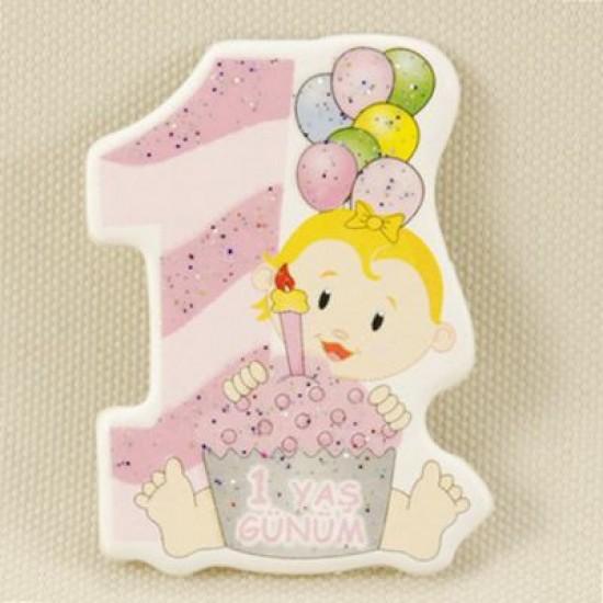 1 Yaş Günüm Pembe Sticker Ahşap Bebek Şekeri Süsü 20 Adet
