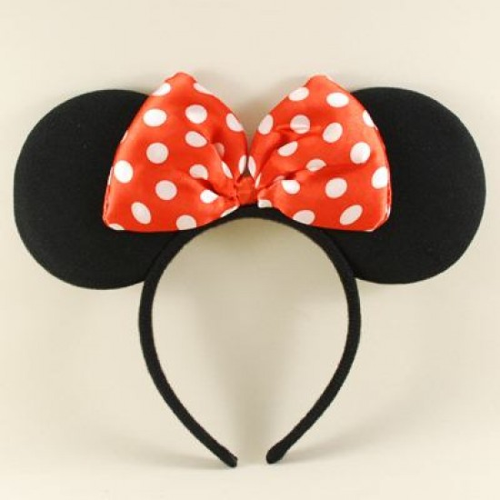 Minnie Mouse Kırmızı Fiyonklu Siyah Kulaklı Taç