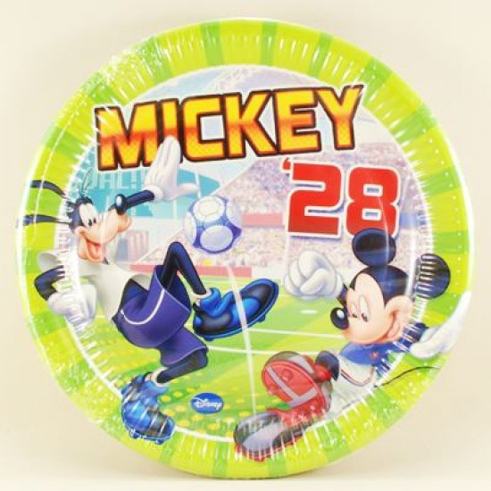 Mickey 28 Futbol Temalı Orjinal Lisanslı Kağıt Tabak 8 Adet