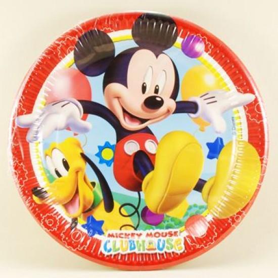 Mickey Mouse Temalı Orjinal Lisanslı Kağıt Tabak 8 Adet