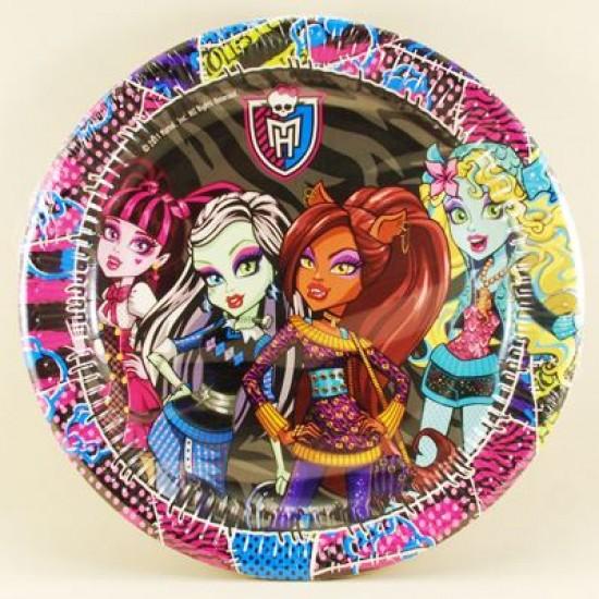 Monster High Temalı Orjinal Lisanslı Kağıt Tabak 10 Adet