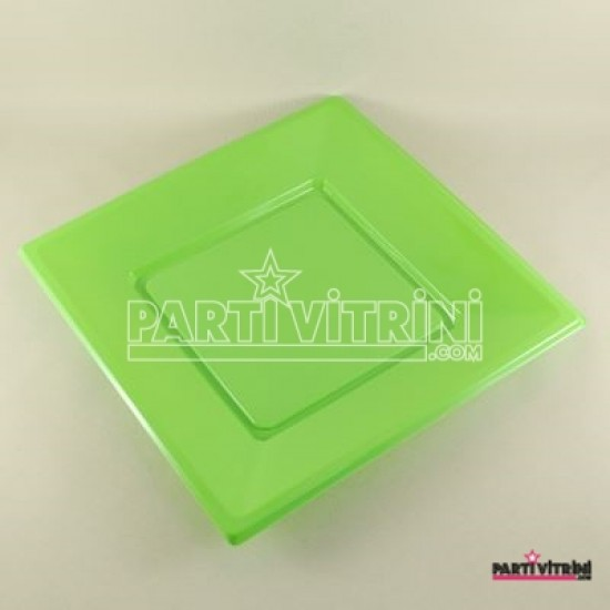 Yeşil Renkli Kare Plastik Tabak 8 Adet